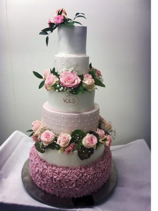 Hochzeitstorte 6 stöckig, rosa